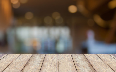 Empty wooden table and interior background, product display,blur