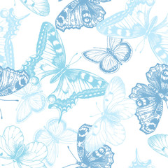Seamless pattern with butterflies.