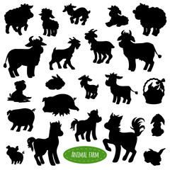 Set of farm animal silhouettes (pig, cow, horse, goat, sheep, ra