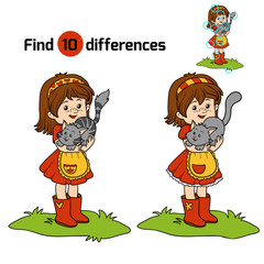 Find differences game (little girl with cute cat)