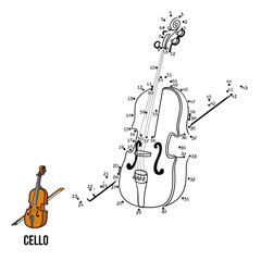 Numbers game for children: musical instruments (cello)