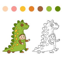 Coloring book: Halloween characters (dinosaur costume)