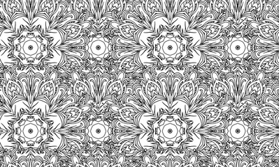Seamless black and white texture with a tribal floral pattern