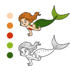 Coloring book for children (little girl mermaid)