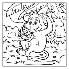 Coloring book: little monkey with a banana