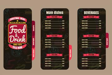 Brochure or poster Restaurant  food christmas menu  Background v