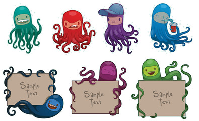 Vector Set of colorful funny octopuses. Cartoon image of seven funny octopuses in different colors on a light background.