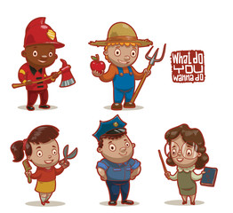 Vector cartoon image of five children in the images of different occupations: firefighter, farmer, hairdresser, policeman and teacher on a light background.