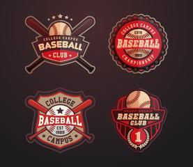 Baseball badges set, sports template with ball and bats for baseball