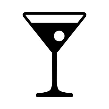 Martini cocktail with flat icon for apps and website