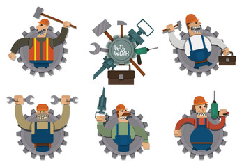 Vector set of labels in the form of gray gears with cartoon image of strong workers with different tools on a light background. Drawn in a flat style.