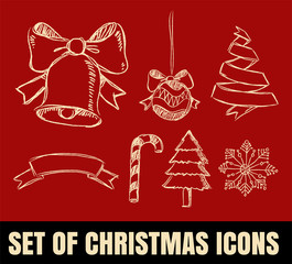 Set of Christmas line Icons on red background