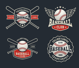 Baseball badge logo design suitable for logos, badge, banner, emblem, label, insignia and T-shirt design