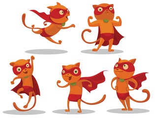 Vector Set of Superhero Cats.Cartoon image of five funny red cats in red pants, coats and masks of superheroes in various poses on a light background.