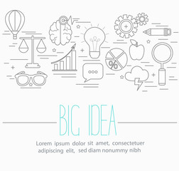 Line style vector illustration design concept of big idea, finding solution, brainstorming, creative thinking. Lots of business symbols isolated on background with place for your text.