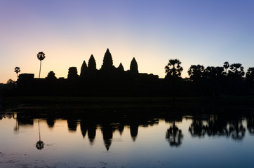 Silhouette of Angkor Wat temple at twilight