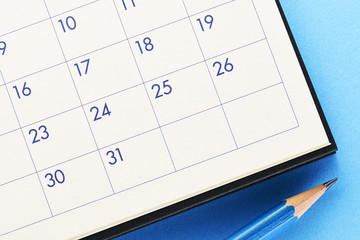 Calendar.On blue background.