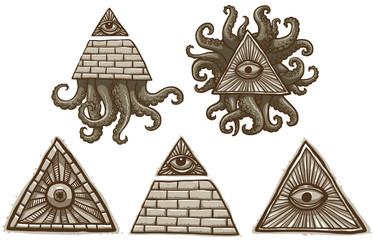 Vector Set of Masonic symbols. Cartoon image of a set of gray Masonic symbols with the pyramids, eyes and tentacles on a light background.