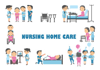 Center for Seniors Staff are caring for an elderly woman in a nursing home vector illustration.