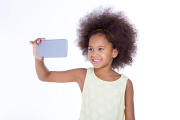 african girl take a selfie