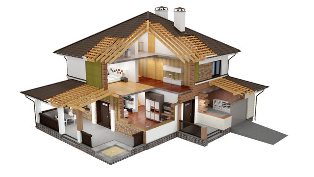 A conceptual image of a modern cottage with furniture, three-dimensional models