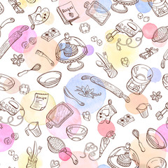 Estores personalizados con tu foto Baking doodle background. Vector seamless pattern with kitchen tools. Hand drawn baking utensils. Cooking tools with watercolor spots on background.