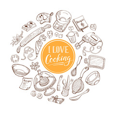 I love cooking poster concept.  Baking tools in heart shape. Poster with hand drawn kitchen utencils.