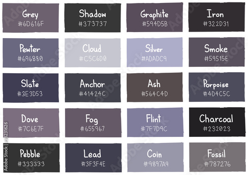 Grey Tone Color Shade Background With Code And Name Ilration