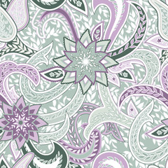 Seamless pattern with Paisley. Background with traditional asian motifs.