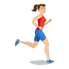 Smiling cartoon girl jogging, beautiful running woman.