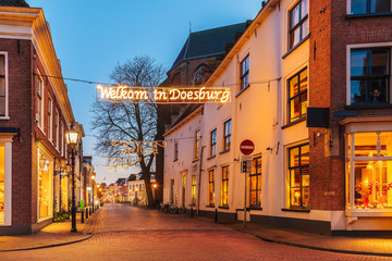 Ancient Dutch street with christmas decoration in Doesburg