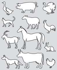 illustration of twelve farm animals on a gray background