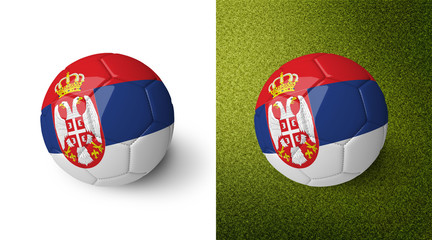 3d realistic soccer ball with the flag of Serbia on it isolated on white background and on green soccer field. See whole set for other countries.
