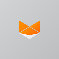 Orange Fox Origami Logo - Isolated Vector Illustration