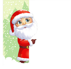 Santa Claus painted on a white background