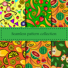 Set fruits vector pattern. Checkered seamless background