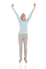 happy senior woman jumping