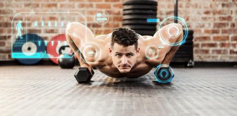 Composite image of portrait of man doing dumbbell push ups