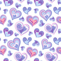 Valentines day artistic hand drawn colorful hearts background, vector seamless pattern