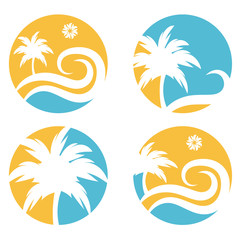 tropical travel vector design template with palm tree