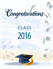 Congratulations text with quill