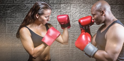 Composite image of athletes with fighting stance