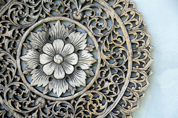Close up of Thai traditional flower wood carving
