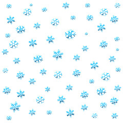 Seamless winter background with blue snowflakes