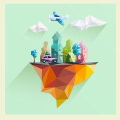 Polygon urban landscape. Flat design.