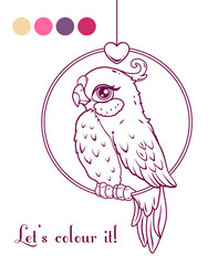 Cute girl bird contour illustration