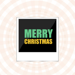 Merry Christmas lettering Greeting Card. Photo Frame. Vector illustration