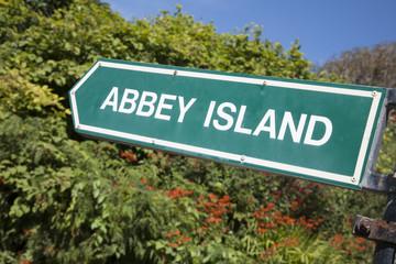 Abbey Island Sign, Derrymore Bay Beach, Ireland