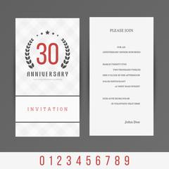 Jubilee 5th, 10th, 20th, 30th, 40th, 50th, 60th invitation card. Vector illustration.