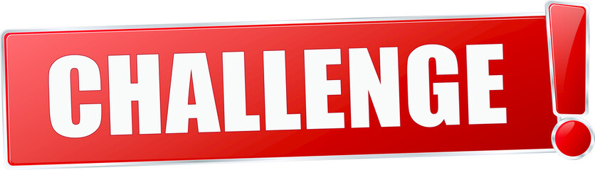 modern red challenge vector sign in red with metallic border and a exclamation mark